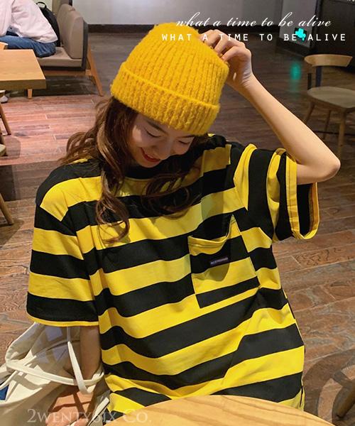 ★ 韓版 BESS-VD ★ 個性撞色橫條紋 寬鬆舒適 短袖海魂衫T恤 (兩色)