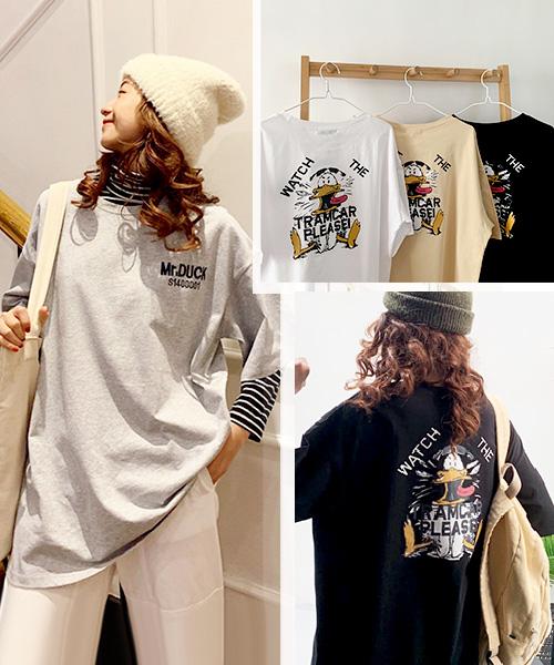 ★ 韓版  BF DKTOON ★ 個性BF風格 網紅款 超萌卡通塗鴉印刷長版上衣  (五色/M~XL)