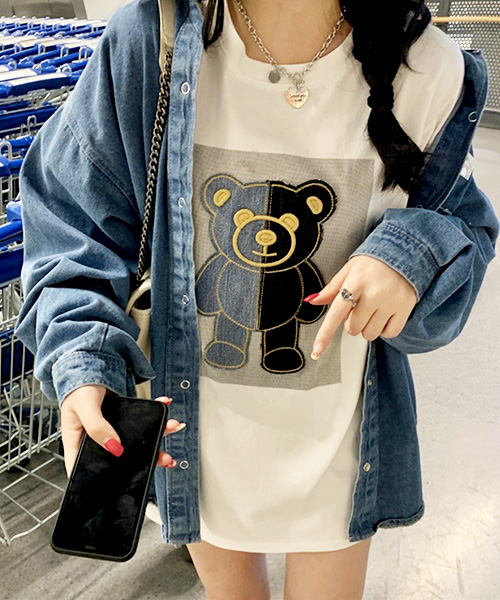★ 韓版 BEAR PATCH ★ 超萌INS爆紅學院風 拼布小熊T恤 (兩色/M~XL)