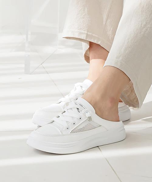 ★ 韓系 OM MESH ★ 春夏百搭 清新涼爽洞洞網布 裝飾鞋帶 半拖鞋