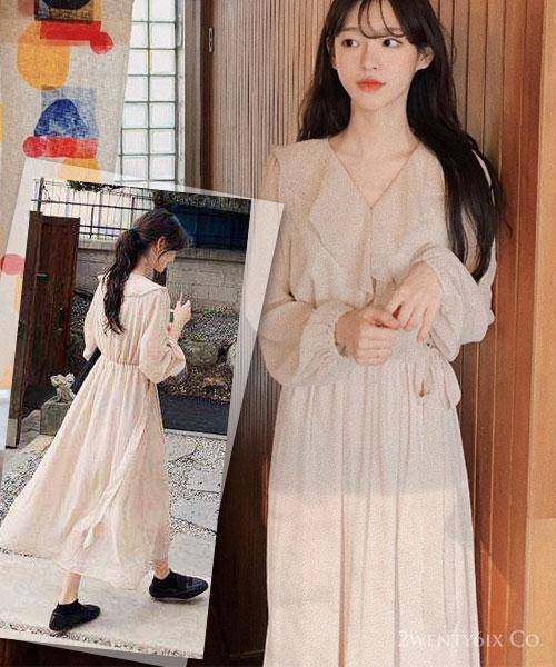 ★ 正韓 OTERA DOT ★ 甜美點點 微透膚 荷葉V領 雪紡連衣裙( 兩色)
