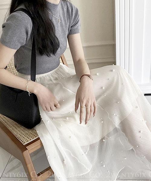 ★ 正韓 Gorgeous YoGin ★ 時尚質感光澤 晶透珍珠 鬆緊腰長裙 (三色)