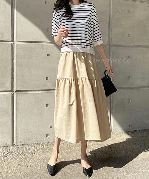 ★ 正韓 HANA OP ★休閒質感 假兩件 條紋上衣拼接皺摺寬鬆長裙 (兩色)