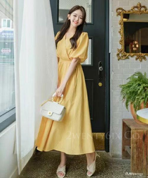 ★ 正韓 ANITA WARREN ★ 浪漫甜美 交錯領 側綁帶 公主短袖洋裝 (兩色)