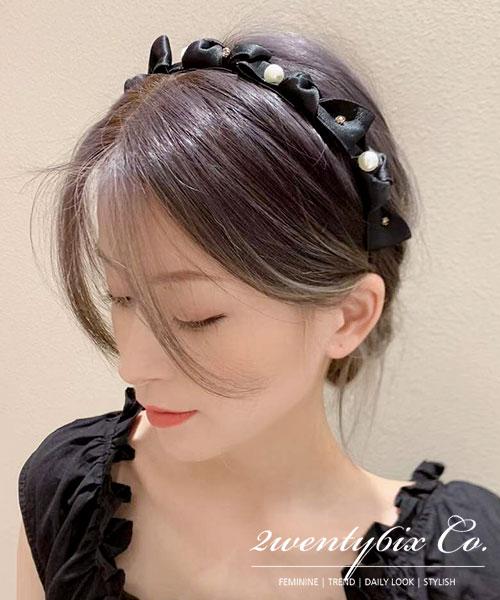 ★ 正韓 French Ribbon ★ 浪漫法式 俐落氣勢黑緞帶 綁結 晶透珍珠髮箍