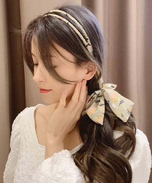 ★ 正韓 ACE Floral ★ 甜美優雅 花卉雙圈髮箍 連接髮帶 (兩色)
