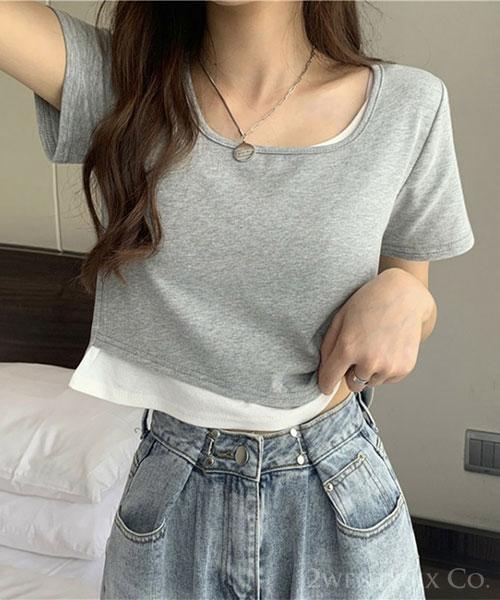 ★ 韓版 KIKI Casual ★ 休閒別緻 假兩件網紅款 短版短袖上衣  ( 三色/M~2XL)
