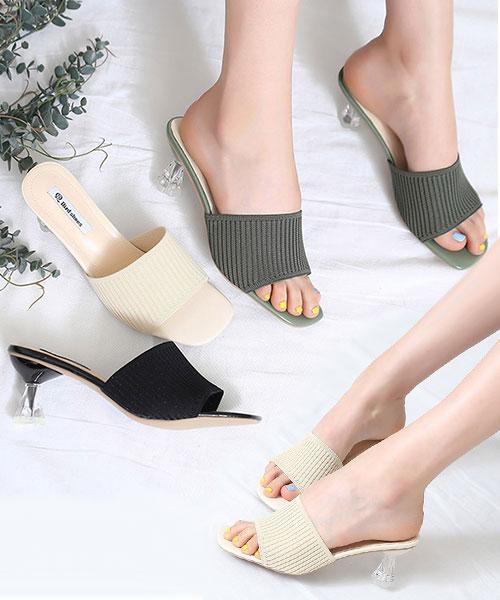 ★ 韓系 TJB KNIT  ★ 質感優雅 坑條針織彈性棉 水晶造型底 涼拖鞋 (三色)