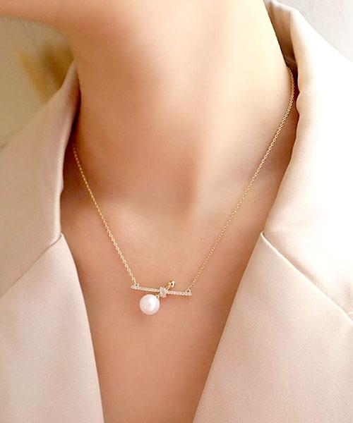 ★ 正韓  RoSan Pearl ★ 質感典雅  晶透珍珠 鑲閃耀排鑽 細鍊項鍊