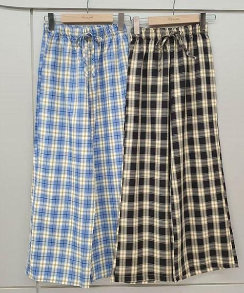 ★ 正韓 Vintage PD ★ 休閒雅痞 質感撞色格紋 鬆緊綁帶 寬褲 (兩色)