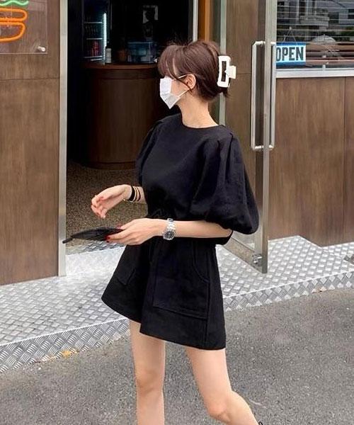 ★ 韓版 SONIA-LN SET ★ 質感棉麻燈籠袖上衣+鬆緊花苞短褲 (兩件套/兩色)