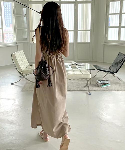 ★ 正韓 Dale OPM ★ 清新甜美 俏麗顯瘦抓皺 腰間綁帶 細肩帶連身洋裝 (兩色)