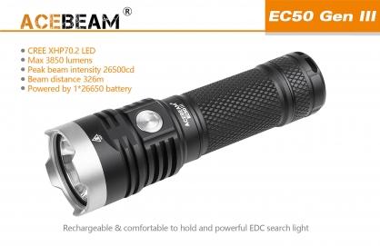 【錸特光電】ACEBEAM EC50 GEN III 3代 3850流明 原廠鋰電/泛光手電筒 XHP70.2 USB充
