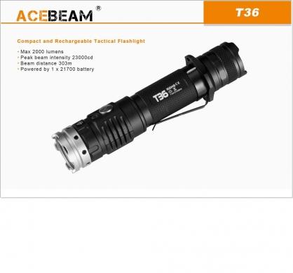 【錸特光電】ACEBEAM T36 2000流明 射程303米 戰術遠射手電筒 不鏽鋼攻擊頭 雙按鍵 /兼容18650