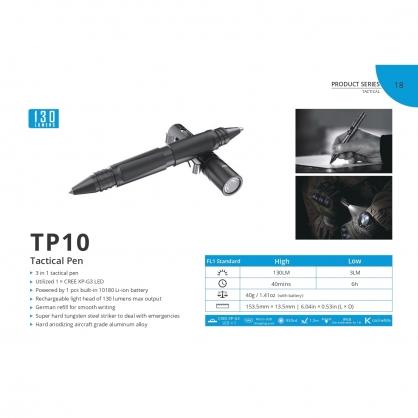 WUBEN TP10 多功能戰術筆燈 130流明 XP-G2 施耐德筆芯 IP-X8  最高防水等級