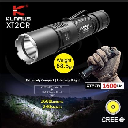 KLARUS XT2CR 1600流明 240米 遠射戰術小燈 /尾部戰術雙開關/ USB充電 可直充 EDC 戰術手電筒 一鍵爆閃 /標配:原廠18650電池1顆/ CREE XHP35 HD
