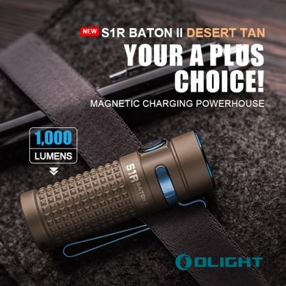 【錸特光電】OLIGHT S1R II  Baton 指揮家二代 1000流明 EDC 沙漠色手電筒 尾部磁鐵 電量顯示 S10R可 MCC 雙向抱夾
