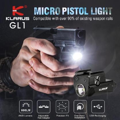 KLARUS GL1 600流明 微型手槍燈 旋轉式彈性導軌夾 一鍵極亮 GLOCK/1913導軌 / 緊湊輕小 續航點亮60分鐘 生存遊戲 olight槍燈 新選擇 原廠保固2年