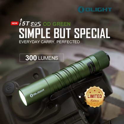 【錸特光電】OLIGHT i5T 軍綠色 300流明 AA筒 EDC 手電筒 冷白光 釣魚 雙向抱夾 夾帽簷 變頭燈 3號電池