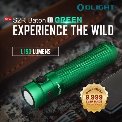 【錸特光電】OLIGHT S2R II 祖母綠 1150流明 指揮家 附電池 18650 BATON II  指揮家 二代 USB直充 高亮度 EDC手電筒 電量顯示 MCC 磁吸充電  尾部磁吸