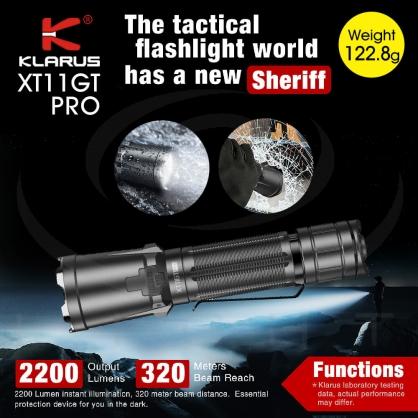 KLARUS XT11GT Pro 2200流明 320米射程 警用 勤務 戰術手電筒