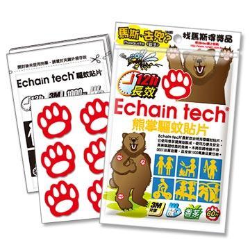 ECHAIN TECH 熊掌 長效驅蚊貼片 60片