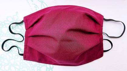 【2004104】手工布口罩 (酒紅色)1入 成人耳掛式 上開式可自行放入濾材 台灣工廠自產自銷