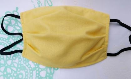 【2004143】手工布口罩 (鵝黃色)成人耳掛式 上開式可自行放入濾材 台灣工廠自產自銷