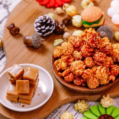 荳荳將蘑菇爆米花-獨享包-焦糖瑪奇朵(甜/素)-手炒/酥脆/非基改頂級蘑菇玉米粒