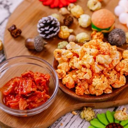 荳荳將蘑菇爆米花-獨享包-韓式泡菜(辣/素)-手炒/酥脆/非基改頂級蘑菇玉米粒