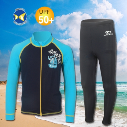 台灣製 Aropec Z5K77C UPF50+ 全面防曬  前拉鍊長袖 水母衣 寶貝藍 + 防曬長褲 黑