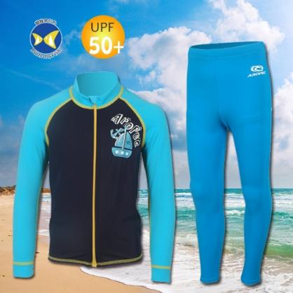 台灣製 Aropec Z5K77C UPF50+ 全面防曬  前拉鍊長袖 水母衣 寶貝藍 + 防曬長褲 藍