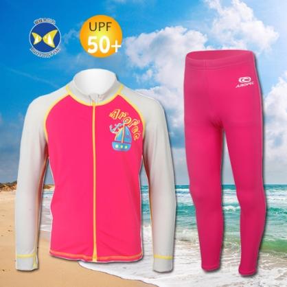 台灣製 Aropec Z5K77C UPF50+ 全面防曬  前拉鍊長袖 水母衣 桃紅 + 防曬長褲 桃紅 衣褲6號