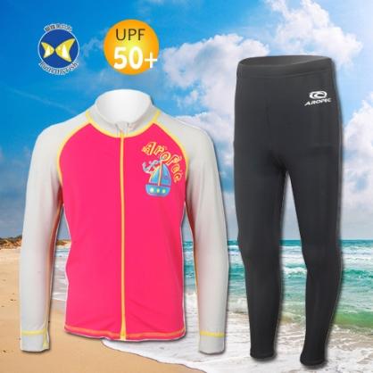 台灣製 Aropec Z5K77C UPF50+ 全面防曬  前拉鍊長袖 水母衣 桃紅 + 防曬長褲 黑