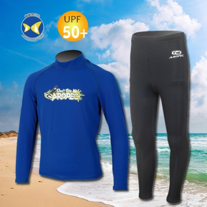 台灣製 Aropec UPF50+ SS-51C 全面防曬 兒童長袖 水母衣 驚奇深藍 水母褲 黑