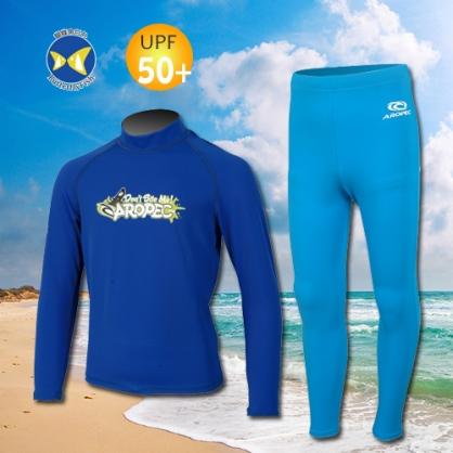 台灣製 Aropec UPF50+ SS-51C 全面防曬 兒童長袖 水母衣 驚奇深藍 水母褲 藍
