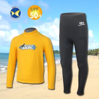台灣製 Aropec UPF50+ SS-51C 全面防曬 兒童長袖 水母衣 驚奇黃 水母褲 黑