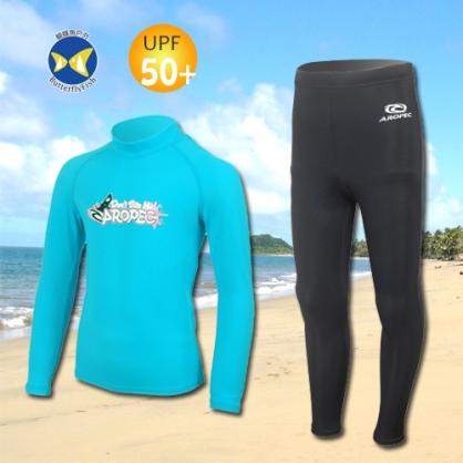 台灣製 Aropec UPF50+ SS-51C 全面防曬 兒童長袖 水母衣 驚奇土耳其藍 水母褲 黑
