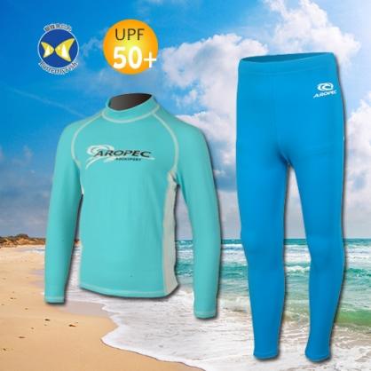 台灣製 Aropec UPF50+ SS-51C 全面防曬 兒童長袖 水母衣 土耳其藍白 水母褲 藍