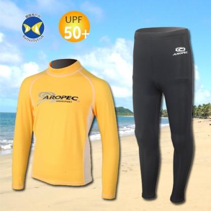 台灣製 Aropec UPF50+ SS-51C 全面防曬 兒童長袖 水母衣 黃白 水母褲 黑
