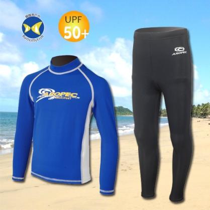 台灣製 Aropec UPF50+ SS-51C 全面防曬 兒童長袖 水母衣 藍白 水母褲 黑