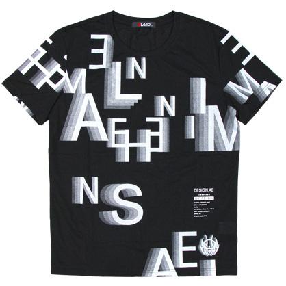 091213滿版字母重疊立體感圓領TEE
