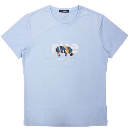 091223平織犀牛繡花工藝圓領TEE-藍色