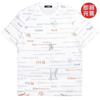 091261滿版藝術字母環保塗層印染TEE-白色