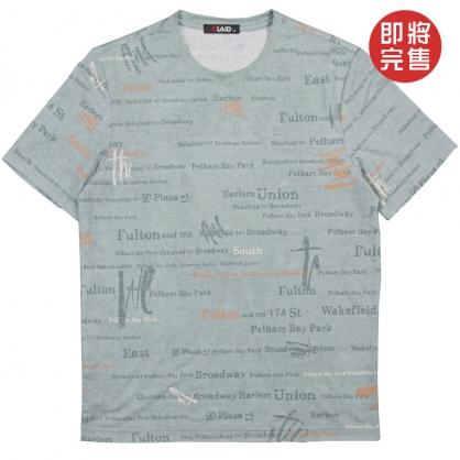091261滿版藝術字母環保塗層印染TEE-藍綠色