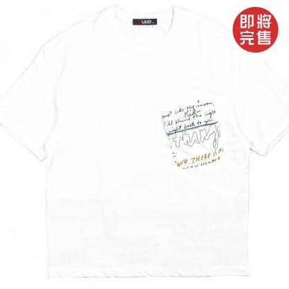 091263前口袋字母印花設計彈性萊卡布料TEE-白色