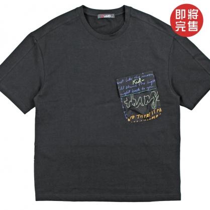 091263前口袋字母印花設計彈性萊卡布料TEE-黑色