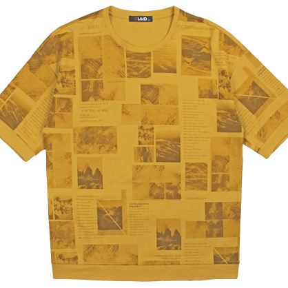 091265超薄雙面紗機械式印花簡約感圓領TEE-黃色