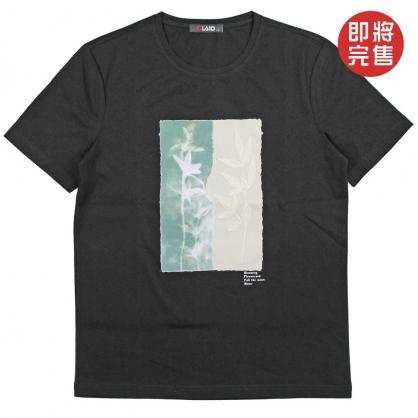 091268樹葉刺繡數碼轉印拼接絨布工藝短TEE