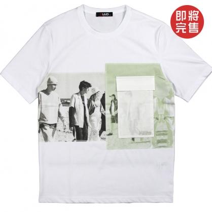 091272相片網點水印印花工裝口袋工藝TEE-白色